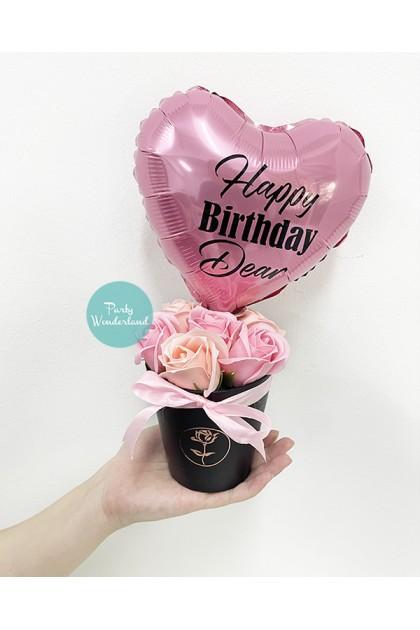Mini Pink Heart Balloon Bucket