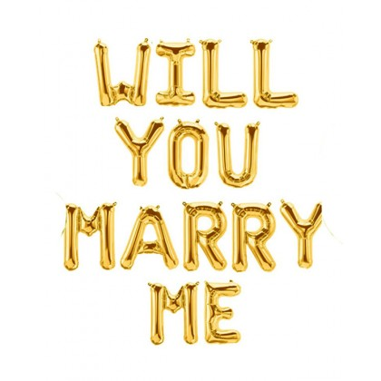 """16"""" Air Filled Will You Marry Me Letters"""