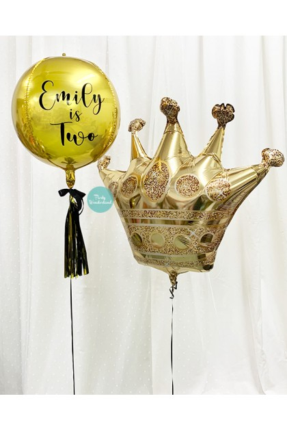 Personalized Message Gold Orbz and Crown Bundle