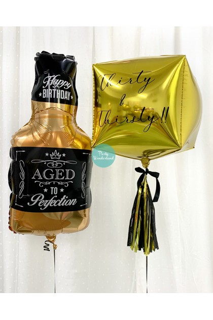 Personalized Message Gold Cube and Bottle Bundle