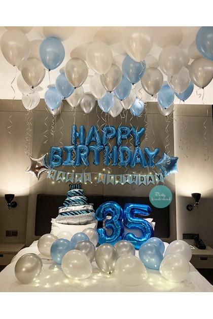 Birthday Decoration Blue, Silver & White Theme